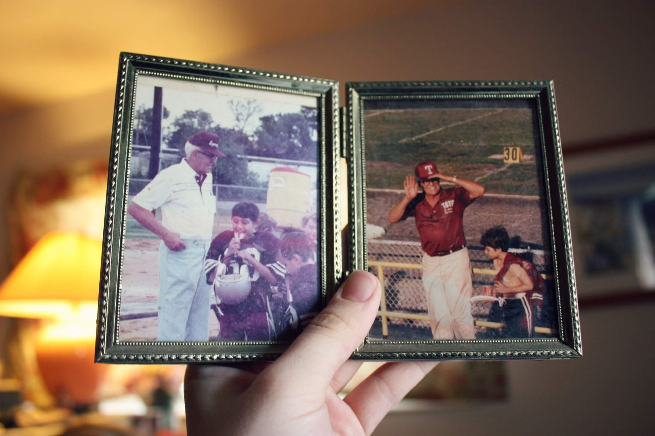 An image of pictures of a father and son to represent the stories of life that funeral celebrant, Derren Gallo, endeavours to tell in her funeral ceremonies.